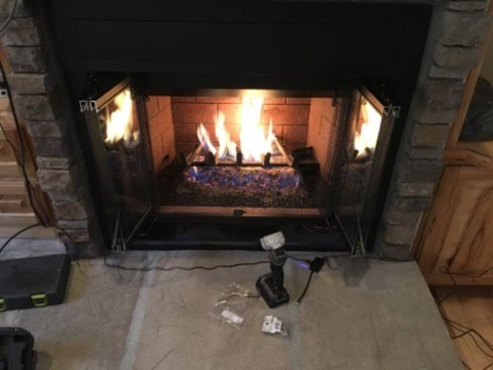 g45 gas fireplace burner natural gas remote ignition GoldCap Chimney Sweep Pinetop Arizona