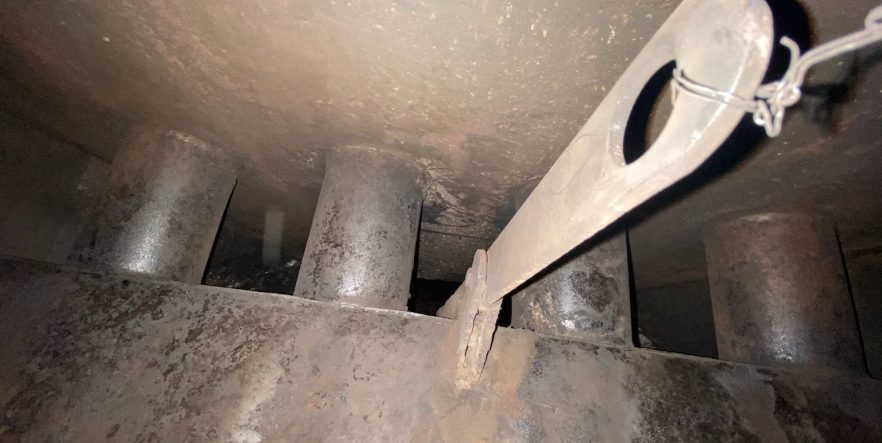 Chimney Sweep Services fireplace damper clean out before and after 2